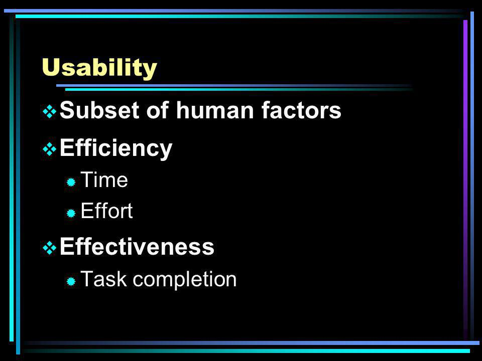 Usability Subset of human factors Efficiency ® Time ® Effort Effectiveness ® Task completion