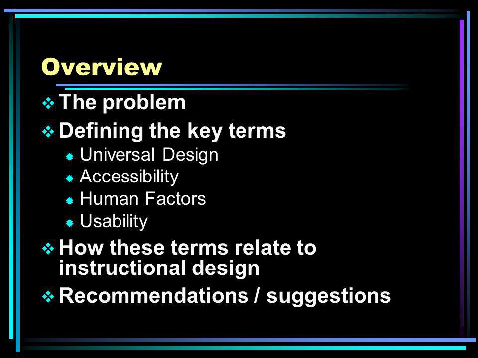 Definitions Determine consistent and clear definitions of these terms ® Universal design ® Accessibility ® Usability Teach these terms to ID students