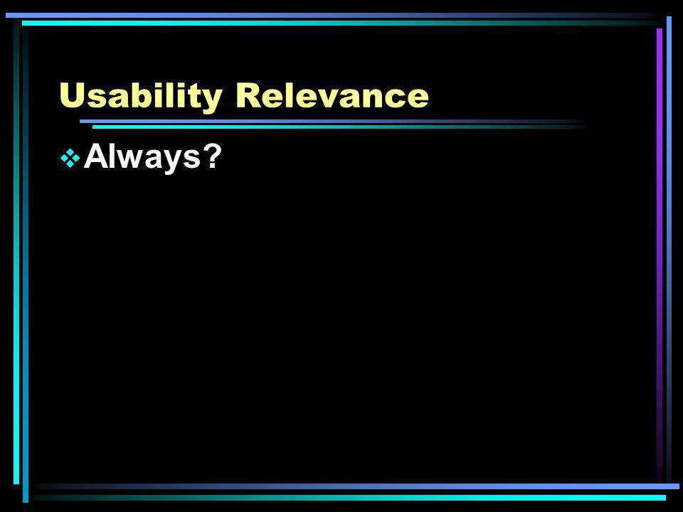 Usability Relevance Always?