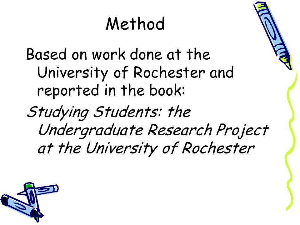 Method Based on work done at the University of Rochester and reported in the book: Studying Students: the Undergraduate Research Project at the University of Rochester