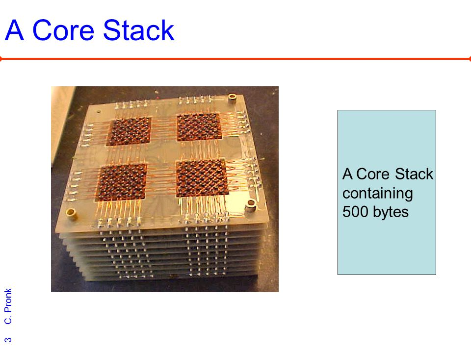 C. Pronk 3 A Core Stack containing 500 bytes