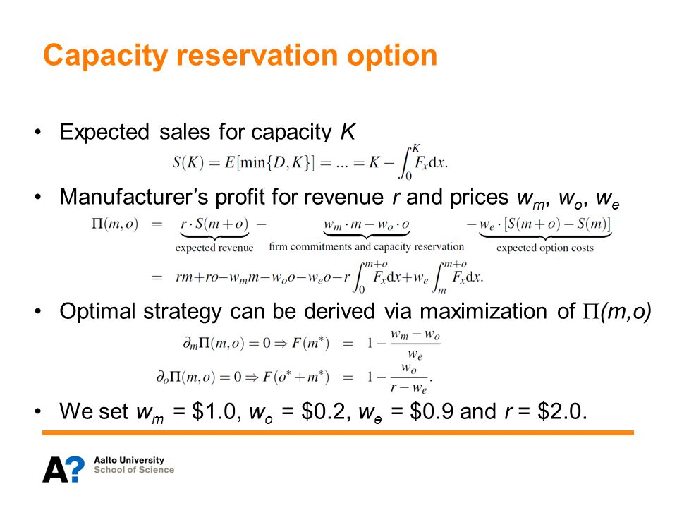 Capacity reservation option Expected sales for capacity K Manufacturers profit for revenue r and prices w m, w o, w e We set w m = $1.0, w o = $0.2, w e = $0.9 and r = $2.0.
