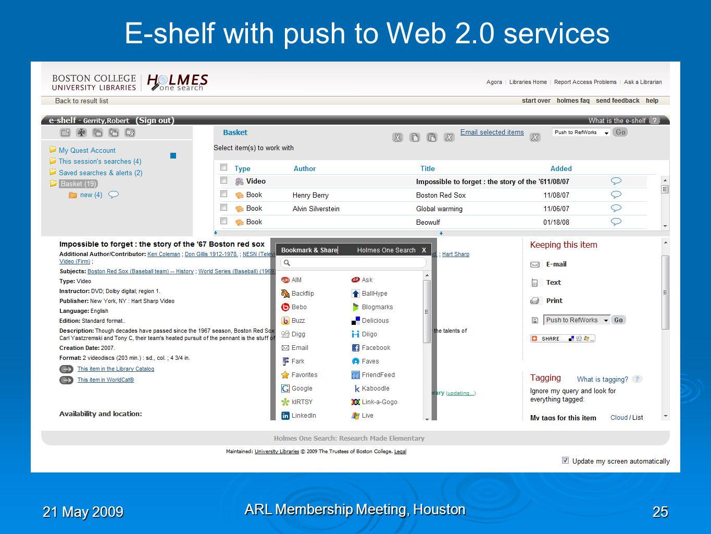 21 May 2009 ARL Membership Meeting, Houston 25 E-shelf with push to Web 2.0 services