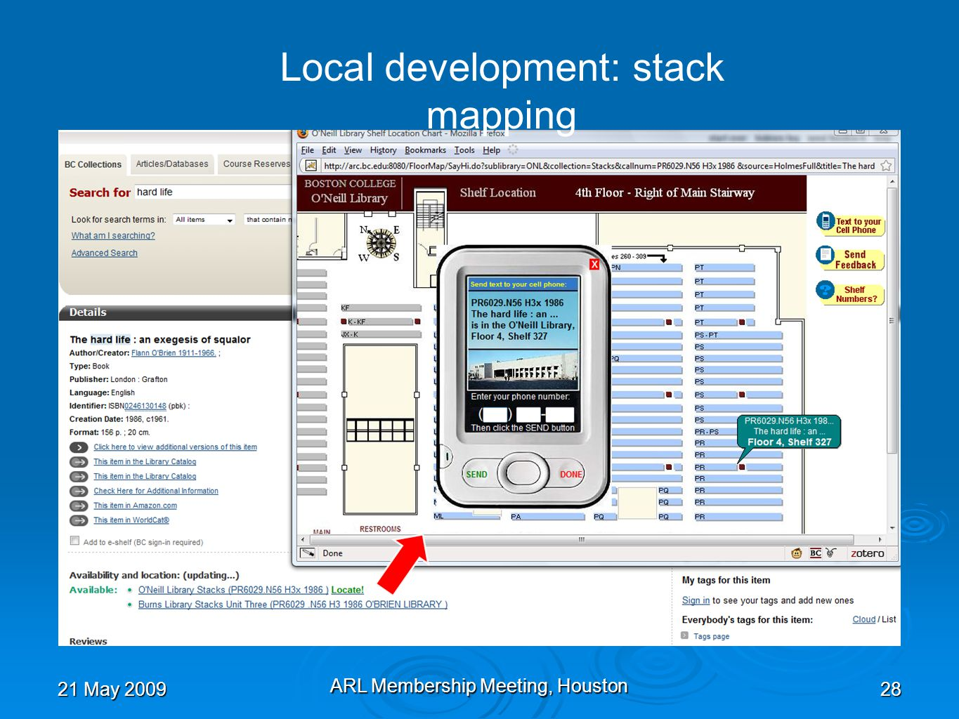 21 May 2009 ARL Membership Meeting, Houston 28 Local development: stack mapping