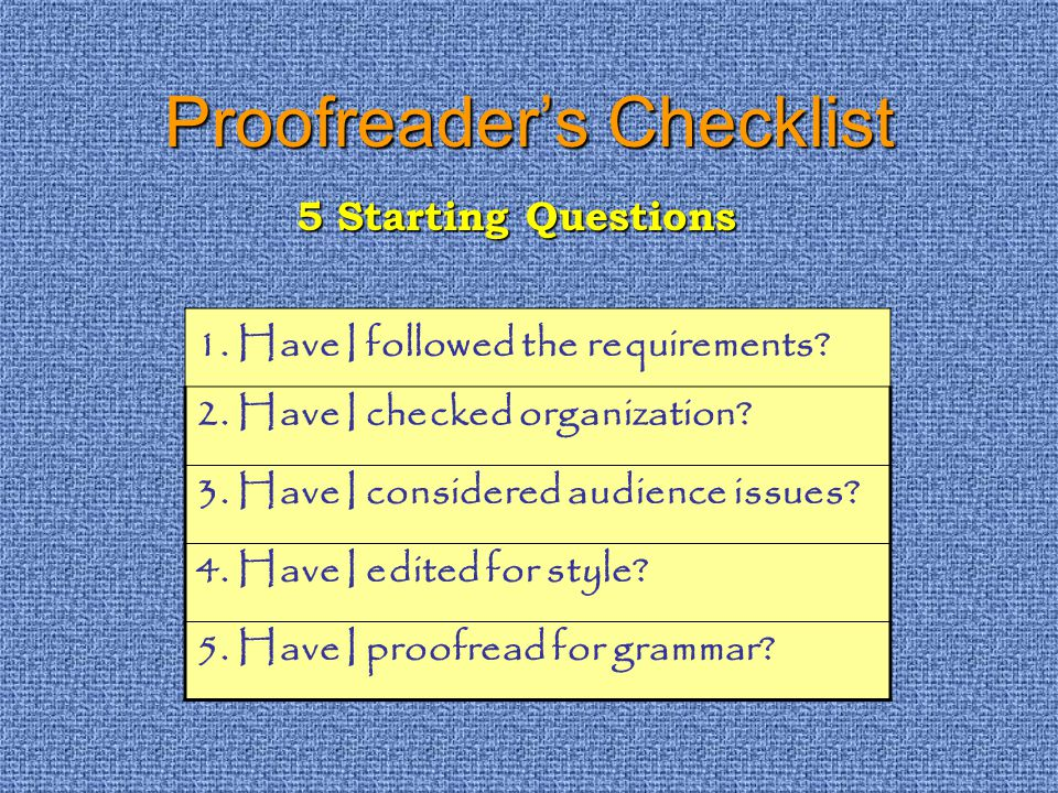 Proofreaders Checklist 1. Have I followed the requirements.