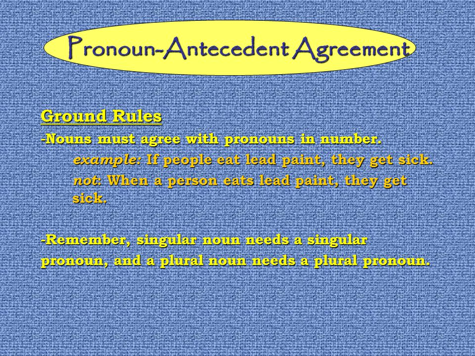 Pronoun-Antecedent Agreement Ground Rules -Nouns must agree with pronouns in number.