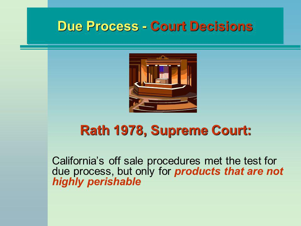 Rath 1978, Supreme Court: Californias off sale procedures met the test for due process, but only for products that are not highly perishable Due Process - Court Decisions
