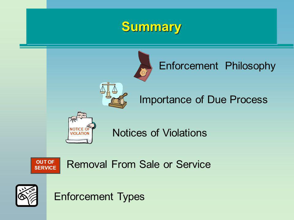 SummarySummary Enforcement Philosophy Importance of Due Process NOTICE OF VIOLATION Notices of Violations OUT OF SERVICE Removal From Sale or Service Enforcement Types
