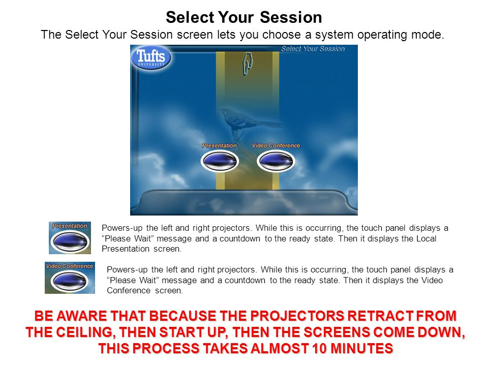 Select Your Session Powers-up the left and right projectors.