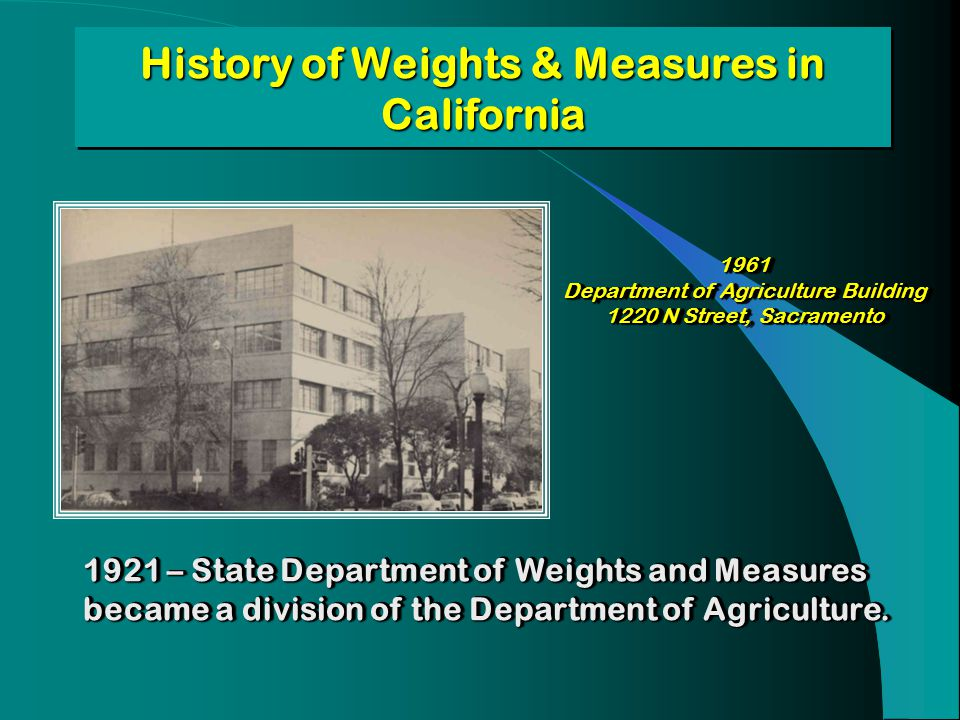 History of Weights & Measures in California 1961 Department of Agriculture Building 1220 N Street, Sacramento 1961 Department of Agriculture Building