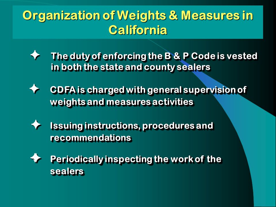 Organization of Weights & Measures in California The duty of enforcing the B & P Code is vested in both the state and county sealers CDFA is charged w