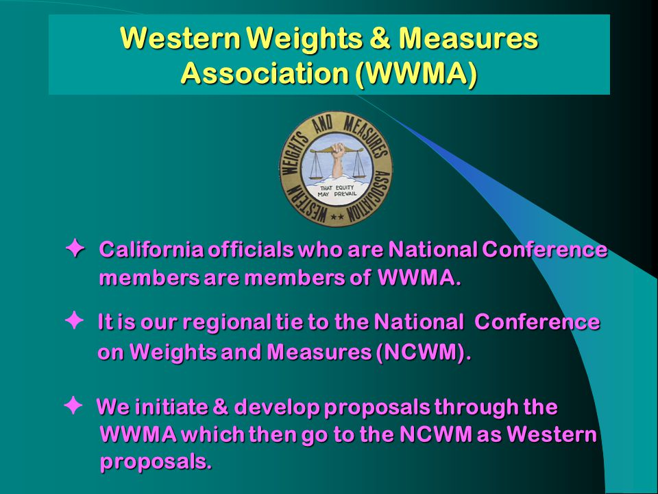 California officials who are National Conference members are members of WWMA. California officials who are National Conference members are members of