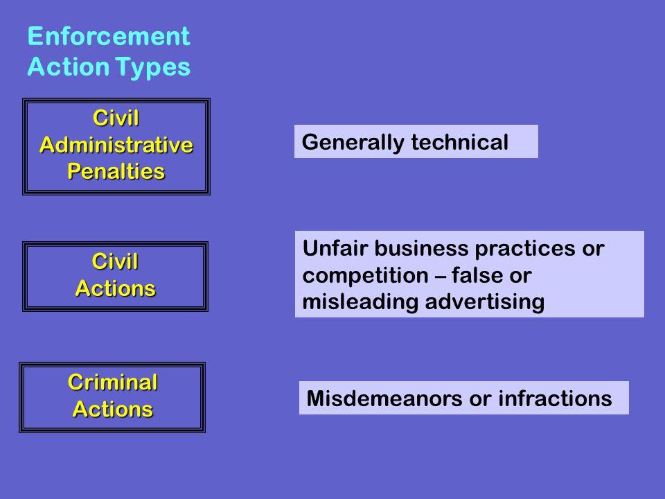 CivilAdministrativePenalties Criminal Actions CivilActions Enforcement Action Types Generally technical Unfair business practices or competition – fal