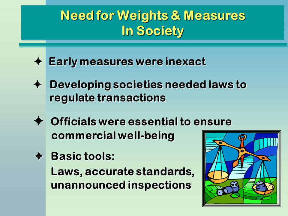 Officials were essential to ensure commercial well-being F Officials were essential to ensure commercial well-being Need for Weights & Measures In Soc