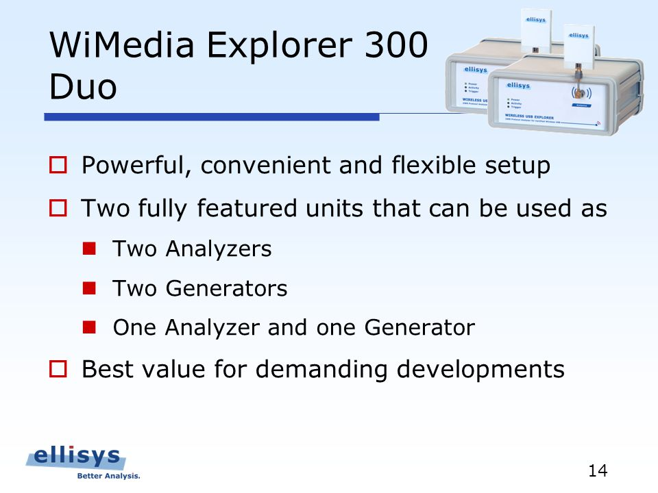 14 WiMedia Explorer 300 Duo Powerful, convenient and flexible setup Two fully featured units that can be used as Two Analyzers Two Generators One Analyzer and one Generator Best value for demanding developments
