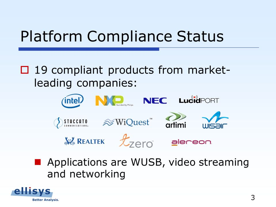 3 Platform Compliance Status 19 compliant products from market- leading companies: Applications are WUSB, video streaming and networking