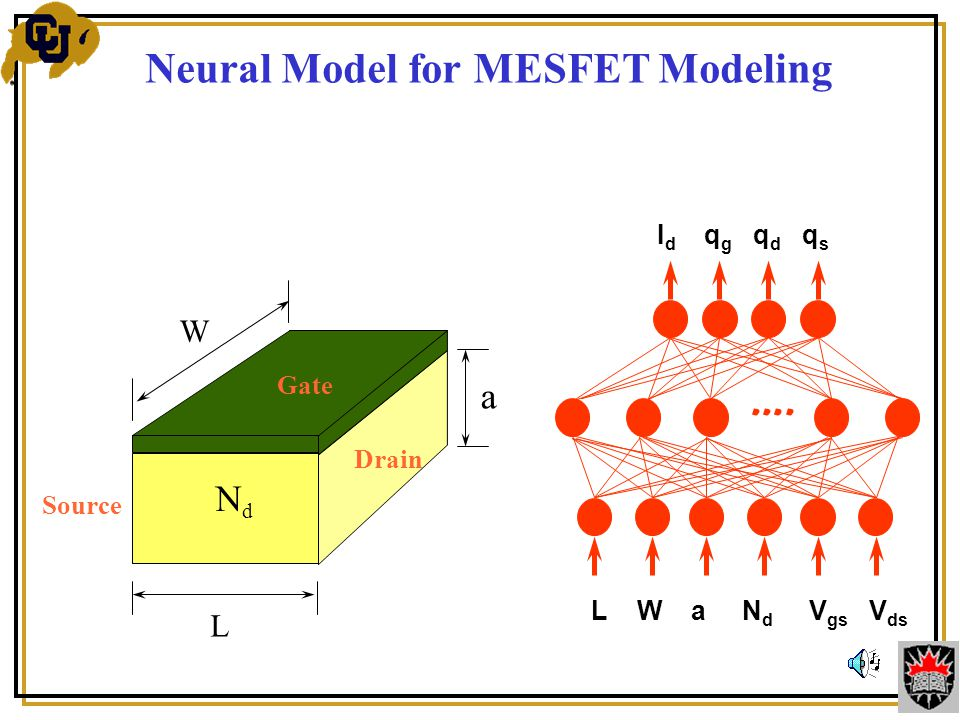 Source L W a NdNd Drain Gate Neural Model for MESFET Modeling ….