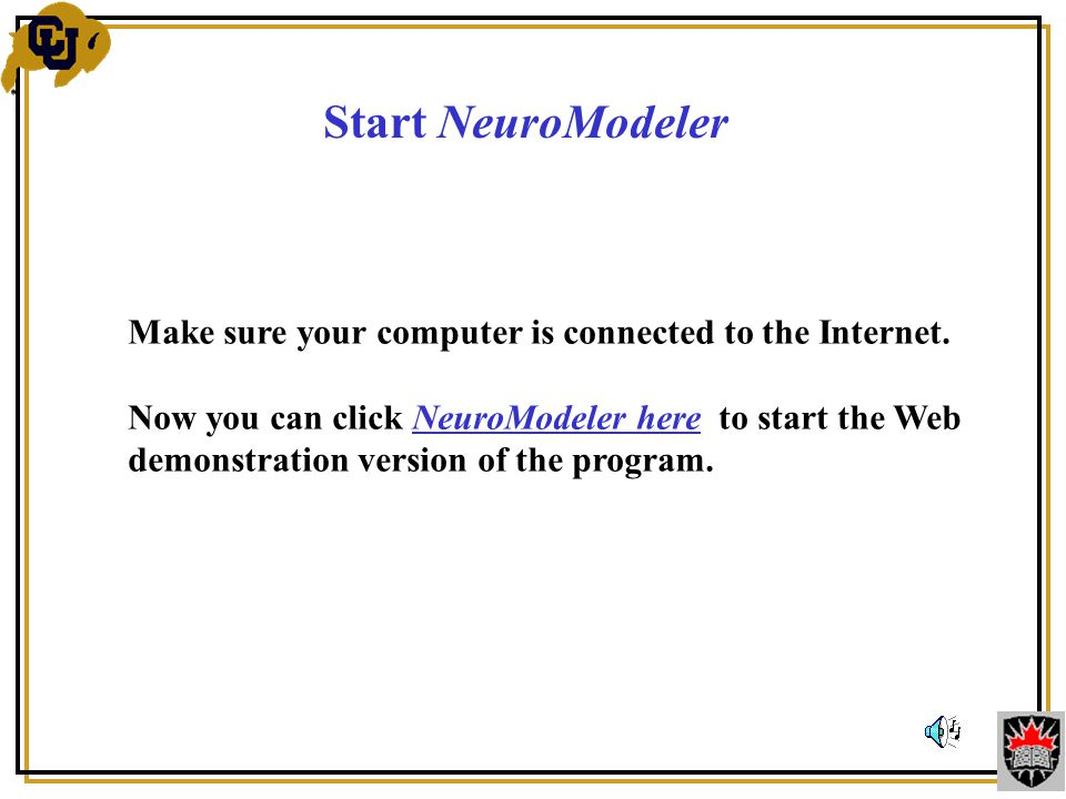 Start NeuroModeler Make sure your computer is connected to the Internet.