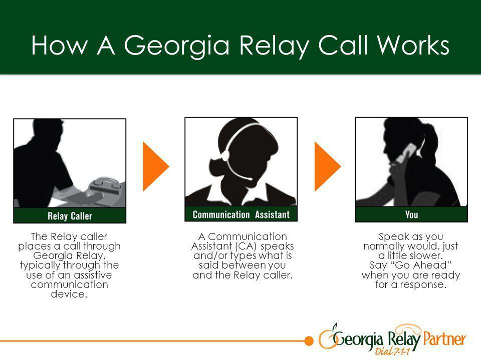 Making a Relay Call Step 1.Dial 7-1-1 to reach Georgia Relay.