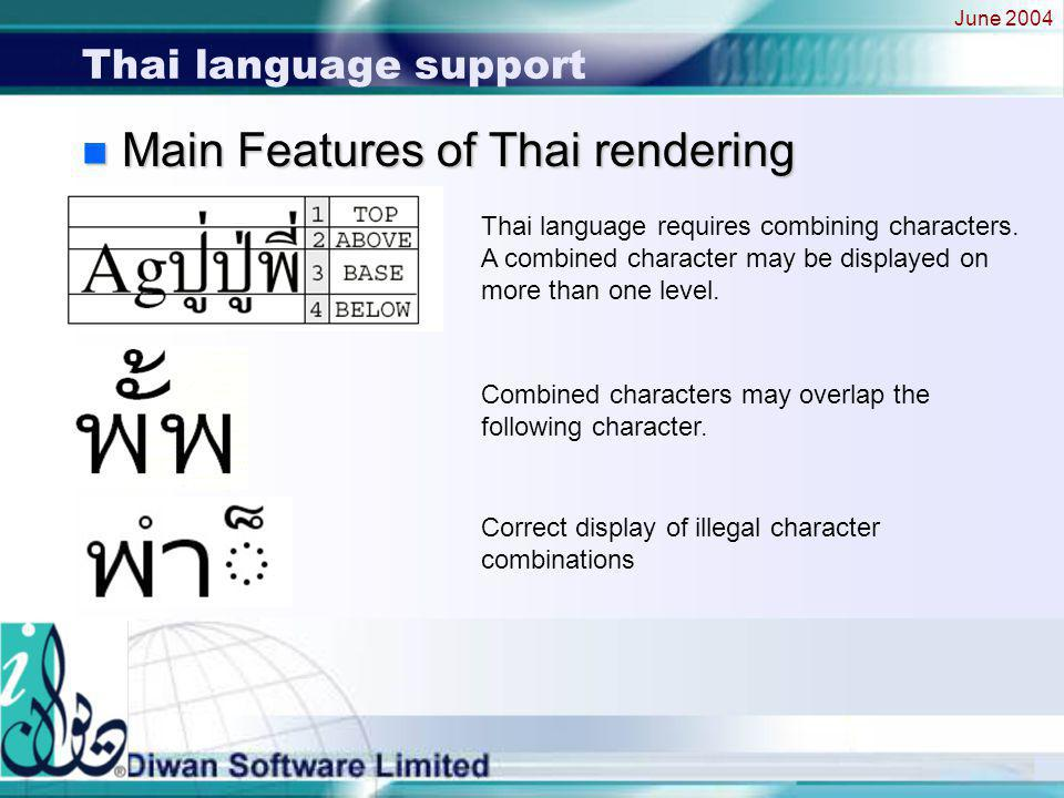 June 2004 Thai language support n Main Features of Thai rendering Thai language requires combining characters.