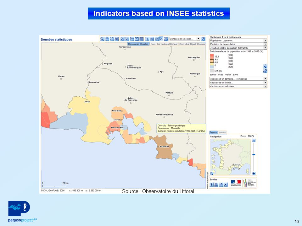 10 Indicators based on INSEE statistics Source : Observatoire du Littoral