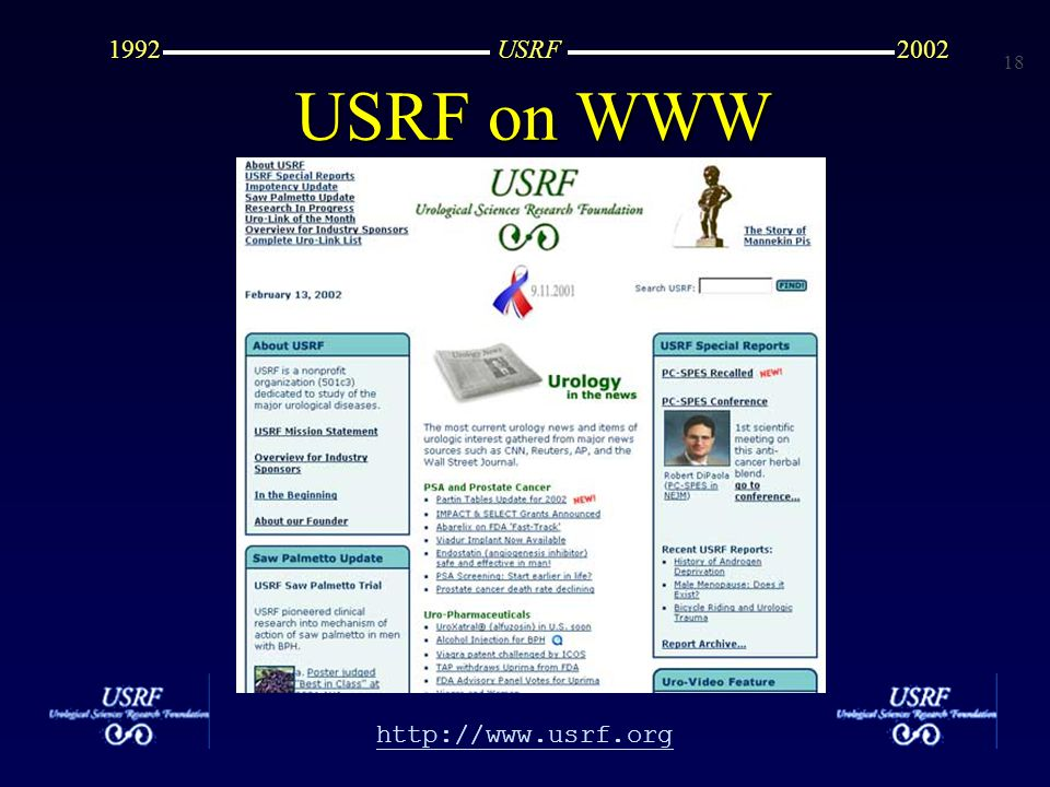 19 http://www.usrf.org USRF20021992 28 clinical trials 28 clinical trials -BPH -CaP -MED -Incontinence -Urinary Infection USRF History, 1992-2002
