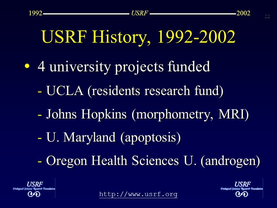 22 http://www.usrf.org USRF20021992 4 university projects funded 4 university projects funded -UCLA (residents research fund) -Johns Hopkins (morphometry, MRI) -U.