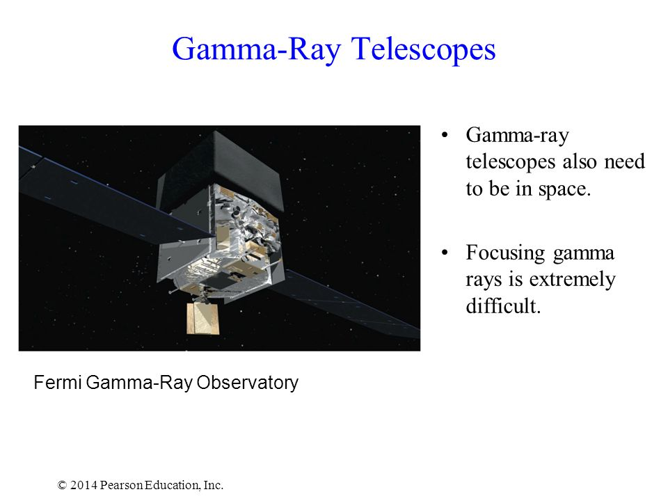 © 2014 Pearson Education, Inc. Fermi Gamma-Ray Observatory Gamma-Ray Telescopes Gamma-ray telescopes also need to be in space. Focusing gamma rays is