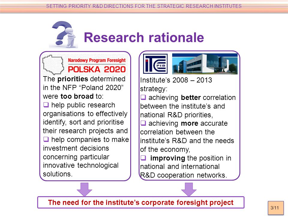 Research rationale The priorities determined in the NFP Poland 2020 were too broad to: help public research organisations to effectively identify, sort and prioritise their research projects and help companies to make investment decisions concerning particular innovative technological solutions.