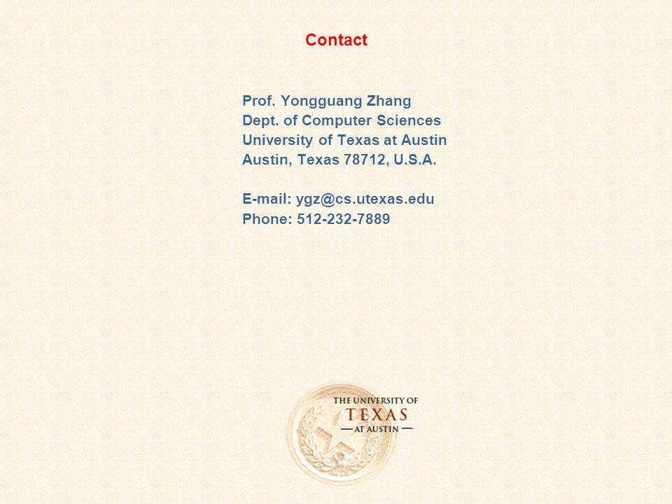 Contact Prof. Yongguang Zhang Dept.