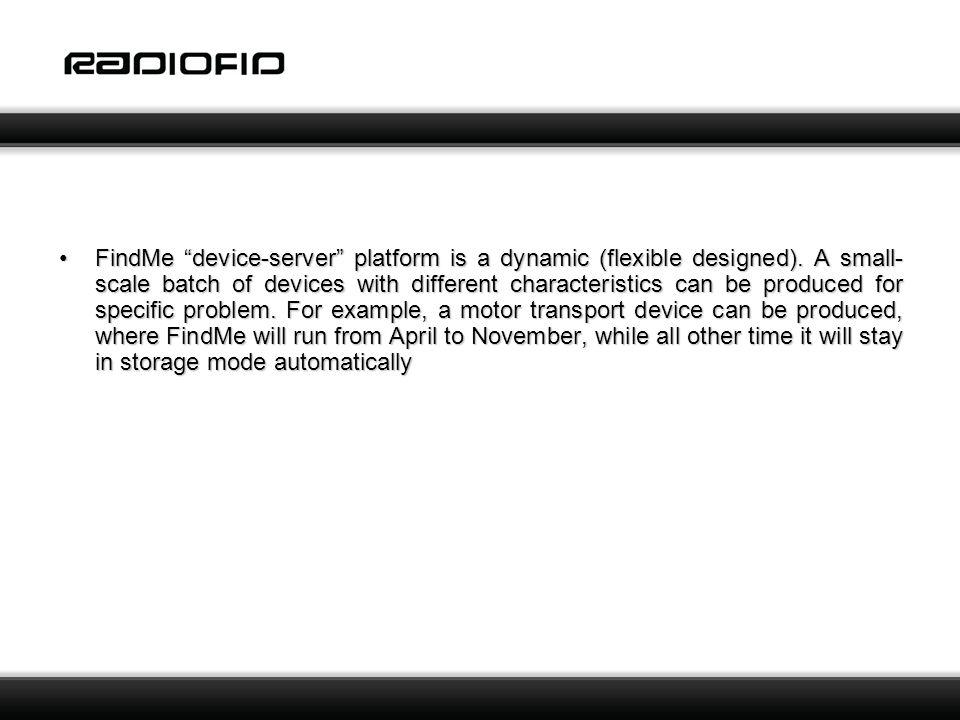 FindMe device-server platform is a dynamic (flexible designed).