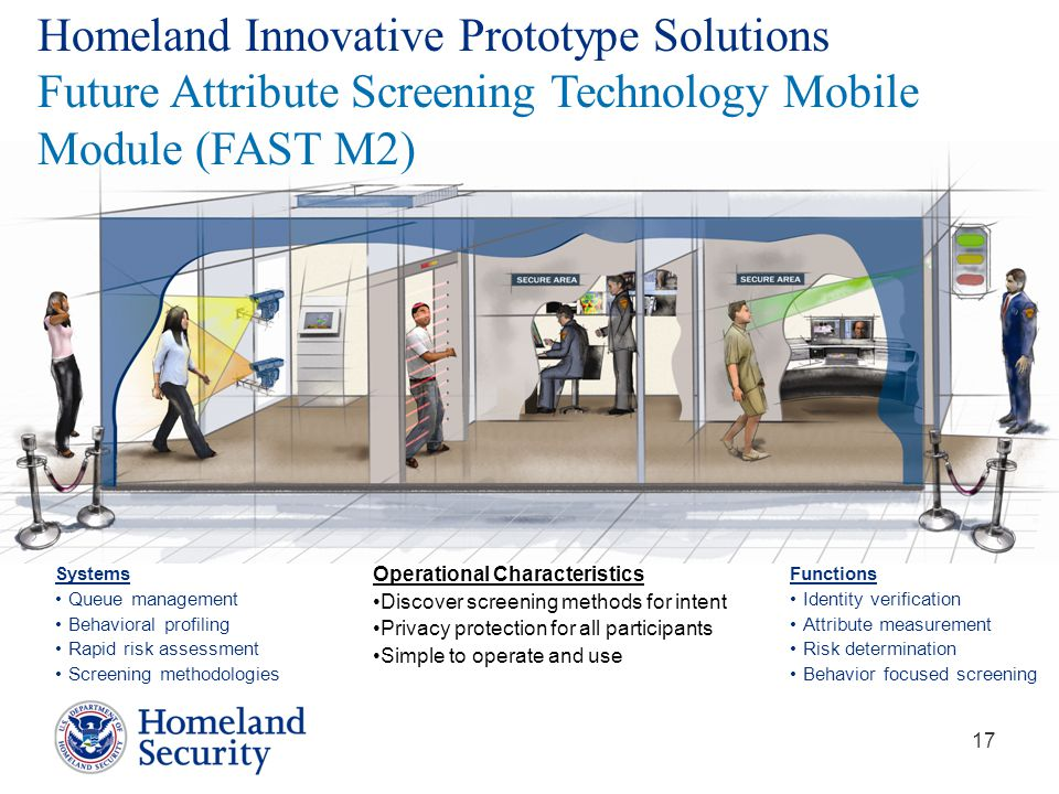 17 Homeland Innovative Prototype Solutions Future Attribute Screening Technology Mobile Module (FAST M2) Systems Queue management Behavioral profiling