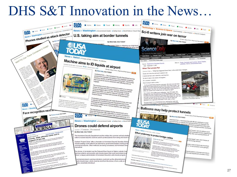 27 DHS S&T Innovation in the News…