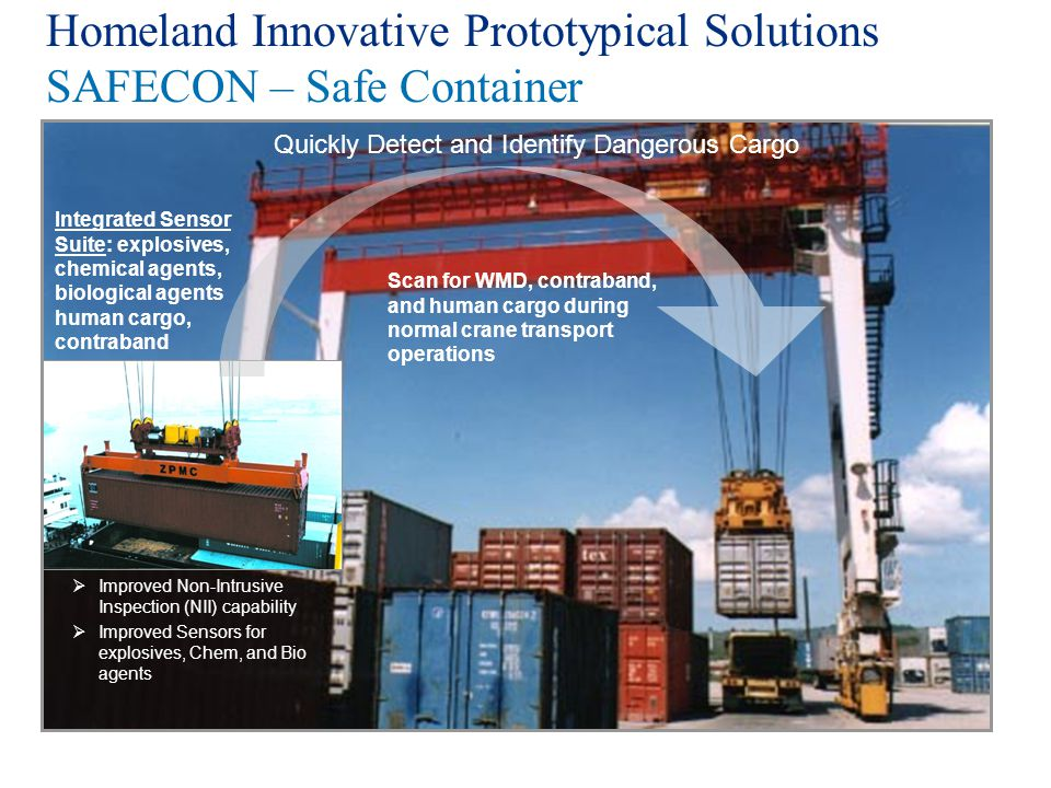 Homeland Innovative Prototypical Solutions SAFECON – Safe Container Improved Non-Intrusive Inspection (NII) capability Improved Sensors for explosives
