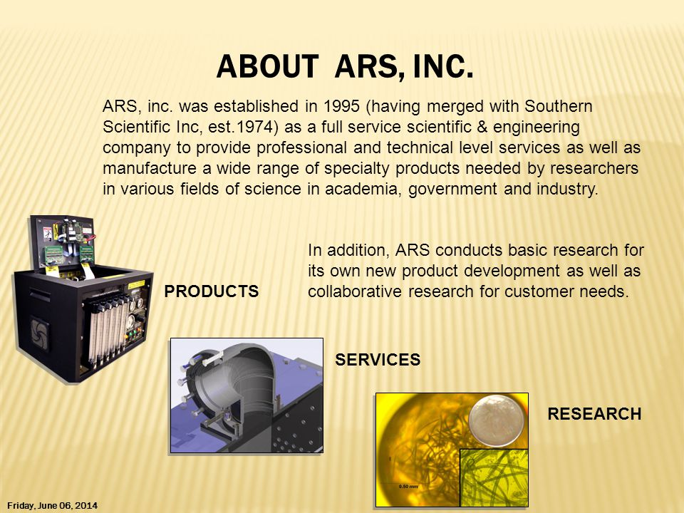 PRODUCTS Friday, June 06, 2014 SERVICES RESEARCH ABOUT ARS, INC.
