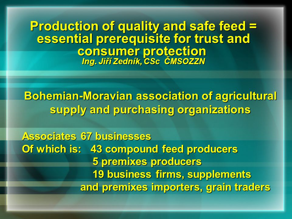Production and storage of compound feeds – cleaning and control of technological device, registration into HACCP, staff training, sampling and analysisProduction and storage of compound feeds – cleaning and control of technological device, registration into HACCP, staff training, sampling and analysis Actions to prevent inicidence of salmonella – technological actions, treatment of raw materials and finished feedsActions to prevent inicidence of salmonella – technological actions, treatment of raw materials and finished feeds Transport of raw materials and compound feedsTransport of raw materials and compound feeds Delivery of compound feed to consumerDelivery of compound feed to consumer Evidence keeping about control of salmonella incidenceEvidence keeping about control of salmonella incidence Collection of identifed data about salmonella incidence control and actions, evaluationCollection of identifed data about salmonella incidence control and actions, evaluation