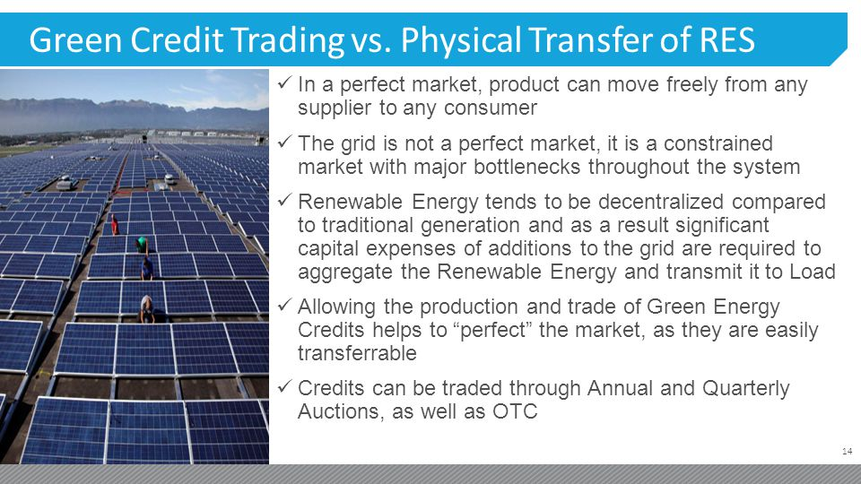 14 Green Credit Trading vs. Physical Transfer of RES In a perfect market, product can move freely from any supplier to any consumer The grid is not a