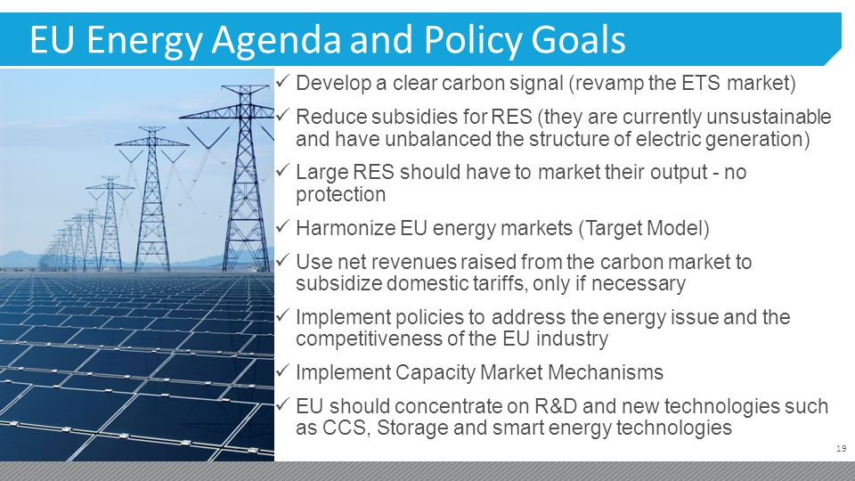 19 EU Energy Agenda and Policy Goals Develop a clear carbon signal (revamp the ETS market) Reduce subsidies for RES (they are currently unsustainable and have unbalanced the structure of electric generation) Large RES should have to market their output - no protection Harmonize EU energy markets (Target Model) Use net revenues raised from the carbon market to subsidize domestic tariffs, only if necessary Implement policies to address the energy issue and the competitiveness of the EU industry Implement Capacity Market Mechanisms EU should concentrate on R&D and new technologies such as CCS, Storage and smart energy technologies