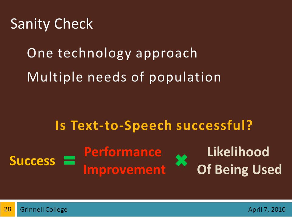 Sanity Check One technology approach Multiple needs of population Is Text-to-Speech successful? 28 Grinnell College April 7, 2010 Success Likelihood O