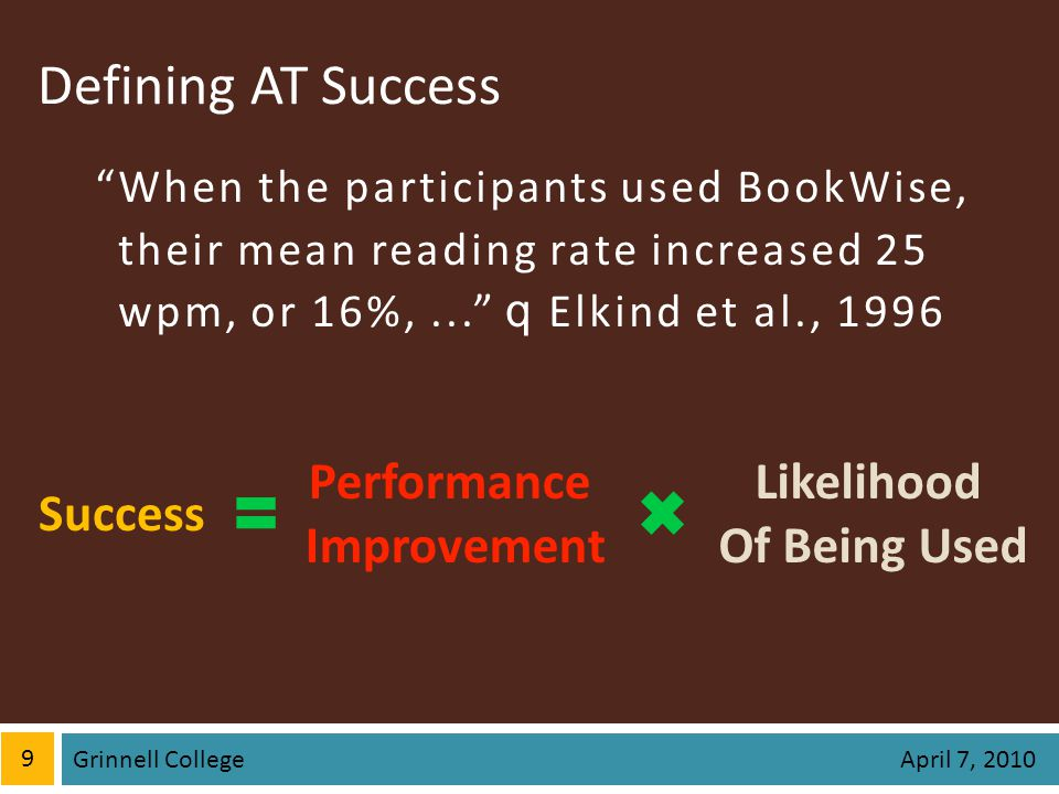 Defining AT Success When the participants used BookWise,their mean reading rate increased 25wpm, or 16%,... q Elkind et al., 1996 9 Grinnell College A