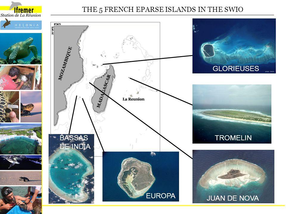 THE 5 FRENCH EPARSE ISLANDS IN THE SWIO GLORIEUSES TROMELIN JUAN DE NOVA EUROPA BASSAS DE INDIA