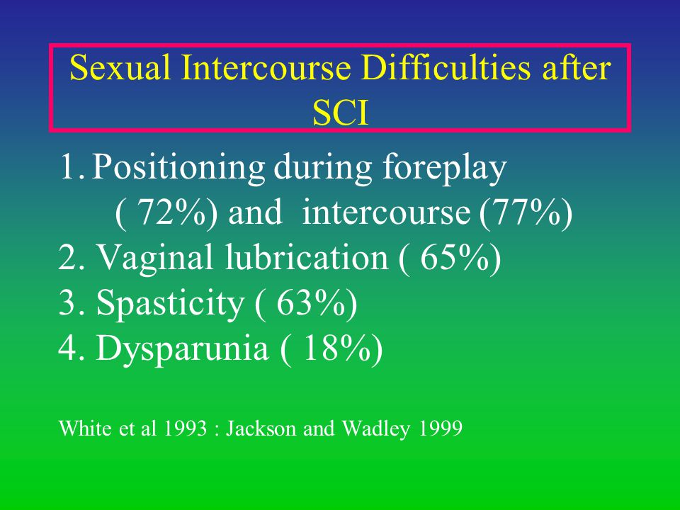 Sexual Intercourse Difficulties after SCI 1.Positioning during foreplay ( 72%) and intercourse (77%) 2.