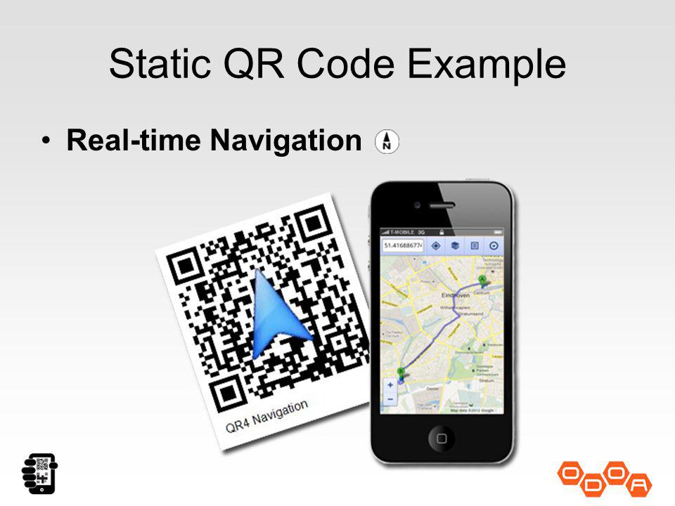 Static QR Code Example Real-time Navigation