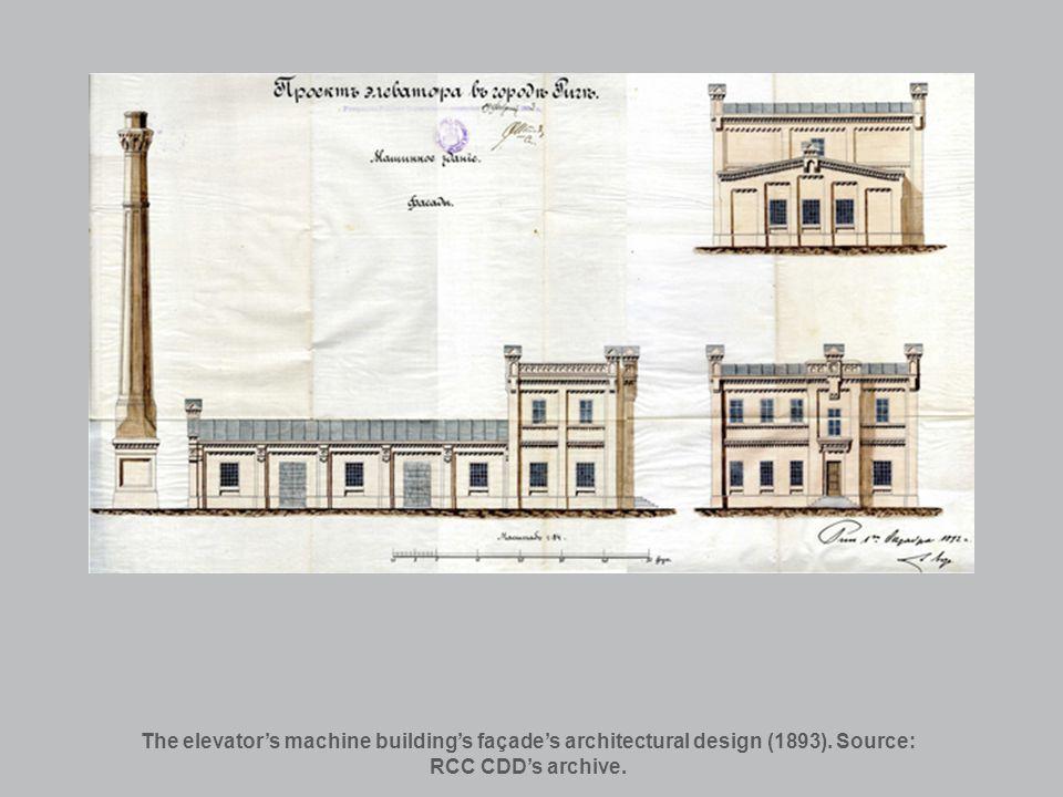 The elevators machine buildings façades architectural design (1893). Source: RCC CDDs archive.