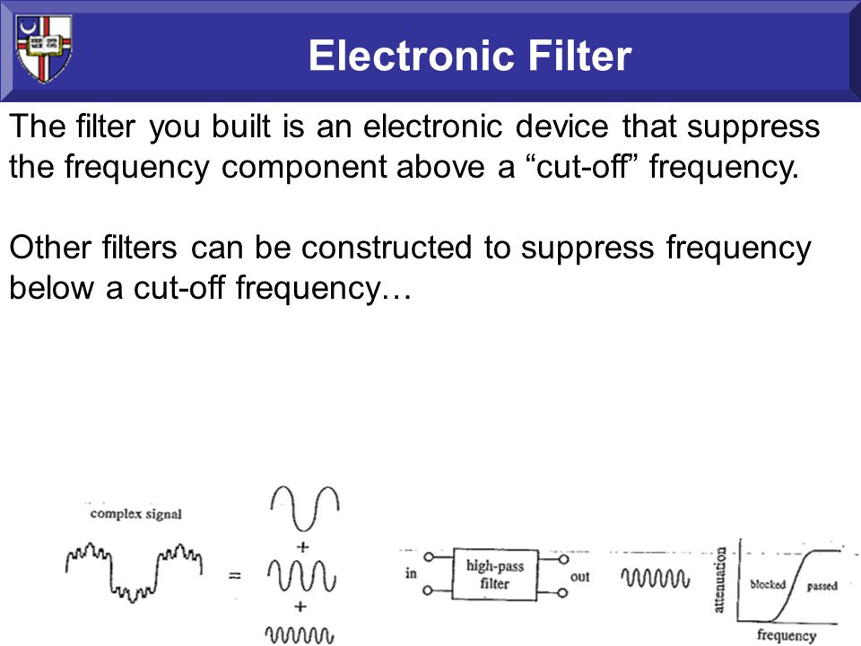 Electronic Filter The filter you built is an electronic device that suppress the frequency component above a cut-off frequency.