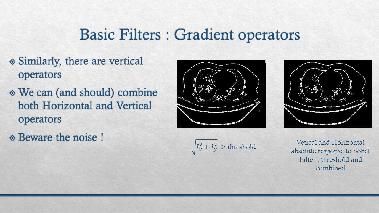 Vetical and Horizontal absolute response to Sobel Filter, threshold and combined