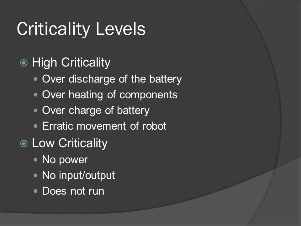 Criticality Analysis – Micro Controller Failure Mode: Output stuck at 1 Possible causes: Overvoltage to the micro Effects: LEDs always off, H-bridge shorted Detection: Observation – Overheated H- Bridge, no LEDs Criticality: High