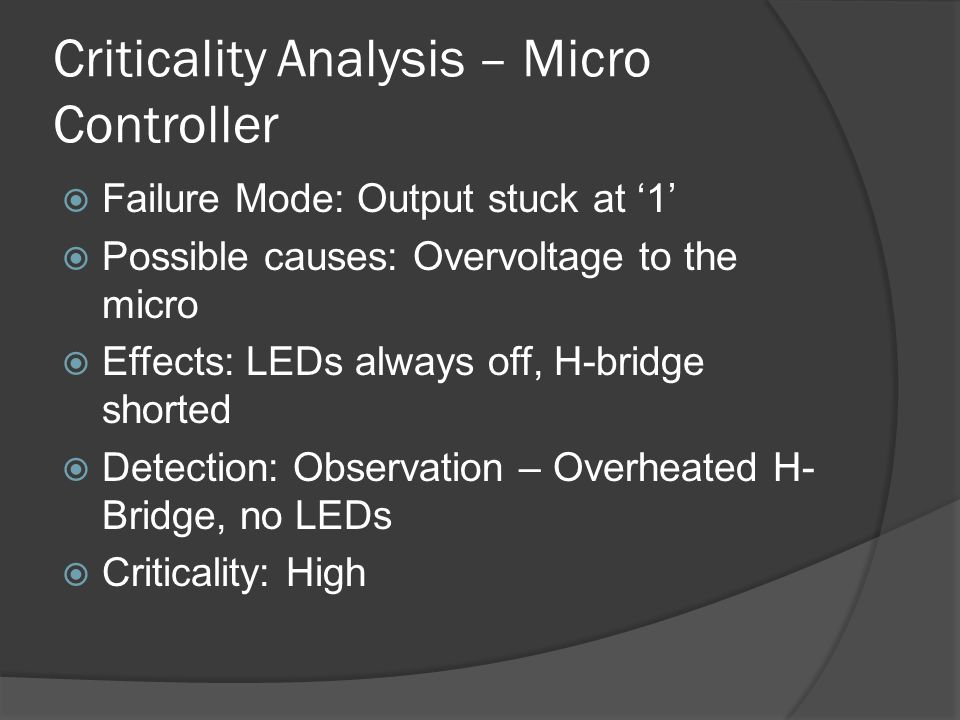 Criticality Analysis – Fuel Gauge Failure Mode: Reading battery discharging too quickly Possible causes: Rsense shorted, Cf shorted Effects: Misinformation to user about battery state Detection: Observation – Battery indicator drops quickly Criticality - Low