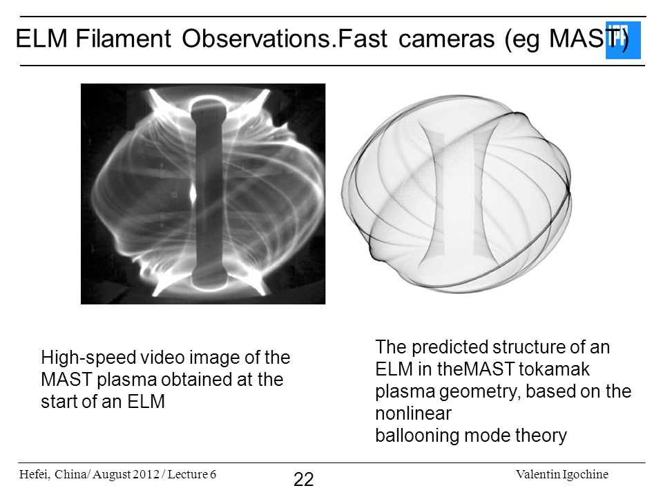 Hefei, China/ August 2012 / Lecture 6Valentin Igochine 22 ELM Filament Observations.Fast cameras (eg MAST) High-speed video image of the MAST plasma o