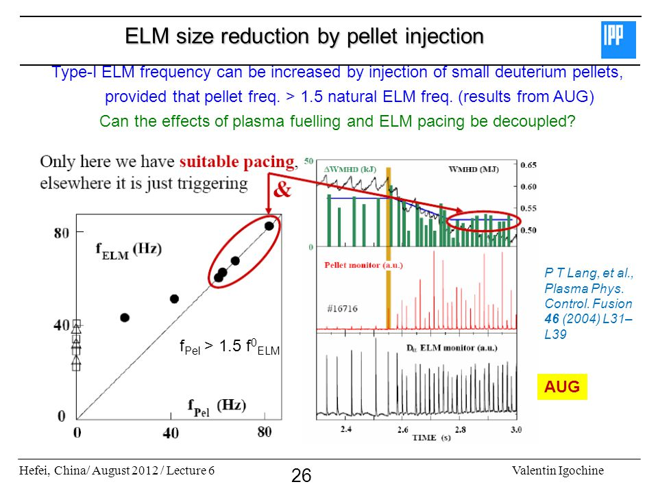 Hefei, China/ August 2012 / Lecture 6Valentin Igochine 26 ELM size reduction by pellet injection f Pel > 1.5 f 0 ELM Type-I ELM frequency can be incre